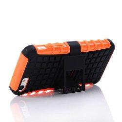 Meaci® Iphone 5C Case Orange 2 In 1 Tpu Stand Kickstand Defender Silicon Rubber&Pc Hard Case 1X Free Anti-Dust Plug Stopper(Random Color)