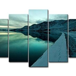 Blue 5 Panel Wall Art Painting Footprint In Snow Road Lakeside Of Moutains Prints On Canvas The Picture Landscape Pictures Oil For Home Modern Decoration Print Decor