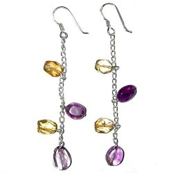 Handmade Sterling Silver, Amythyst And Citrine Bead French Wire Earrings