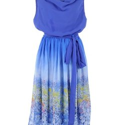 Anna-Kaci S/M Fit Blue Tie Sash Waist Floral Print Ombre Knife Pleat Midi Dress