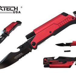 "Wartech 8"" Assisted Open Folding Tactical Pocket Knife With Led Light And Fire Starter"