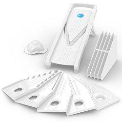 Kitchenconceptz Best Mandoline Slicer Kcsg-14, 5 V-Blades 8-Piece Food Kitchen Tools Set White