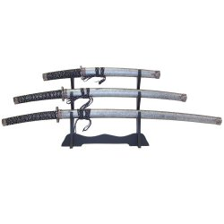 Whetstone Cutlery 3 Pc Heavy Katana Super Set, Black
