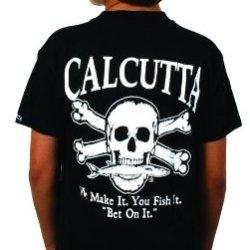 Calcutta Unisex Child Original Logo Kids Short Sleeve Tee (Black, Small)