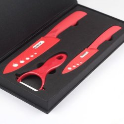Nancy High-Quality Premium Kitchen Ceramic Knife Set Series + Peeler Ceramic Set - Gift Packaging (4Inch+6Inch, Red)