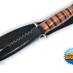 12 Inch Leather Handle Hand To Hand Combat Military Knife Usmc Marines Army W/ Free Sheath