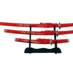 New Red Dragon 3Pc Ninja Samurai Hunting Knife Sword Katana Yin Yang Set