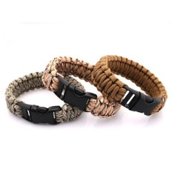 (Price/10 Pcs)Gogo Survival Gear Bracelet With Emergency Whistle Buckle