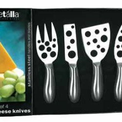 Prodyne Stainless Steel Cheese Knives, Little Holes, Set Of 4