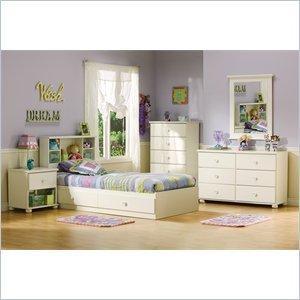 Image of South Shore Sand Castle Pure White Kids Twin Wood Mates Storage Bed 4 Piece Bedroom Set (3660213-4PKG)