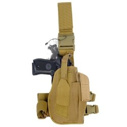 Armstac® Drop Leg Holster [S3] Tactical Pistol Holster With Quick Detach Buckle Clips, Adjustable Straps, Single Magazine Pouch, In Tan Color + Armstac® Lifetime Warranty & Tech Support