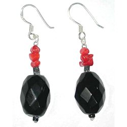 Handmade Sterling Silver Black Onyx, Glass And Red Coral Beaded French Wire Earrings