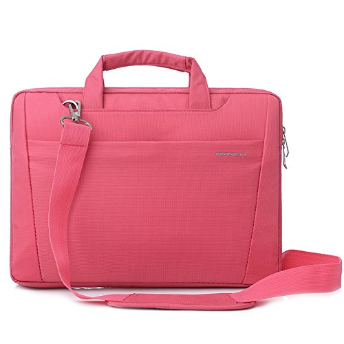BRINCH-Nylon-Lightweight-Durable-Laptop-Shoulder-Case-Carrying-Messenger-Bag-Briefcase-For-13-14-Inch-Laptop-Notebook-MacBook-Chromebook-Computers-with-Shoulder-Strap-and-Pockets-Pink
