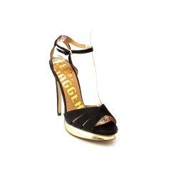 Kelsi Dagger Chacha Womens Size 10 Black Kid Suede Platforms Sandals Shoes