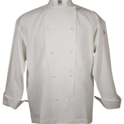 San Jamar J004 Cotton Knife And Steel Long Sleeve Chef Jacket With Cloth Knot Button, 5X-Large, White