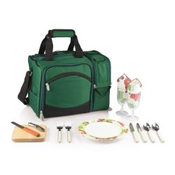 Picnic Time Malibu Insulated Cooler Picnic Tote, Service For 2, Hunter Green