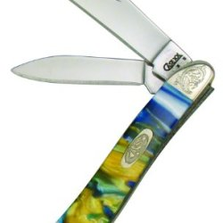 Case Cutlery 9207Sg/E Case Sapphire Glow Corelon Engraved Mini Trapper Pocket Knife With Stainless Steel Blades, Blue, Gold And Green Mixed Corelon
