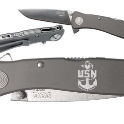 Us Navy Anchor Star Chief Custom Engraved Sog Twitch Ii Twi-8 Assisted Folding Pocket Knife By Ndz Performance