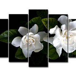 Black & White 5 Piece Wall Art Painting White Gardenia Prints On Canvas The Picture Flower Pictures Oil For Home Modern Decoration Print Decor For Bedroom