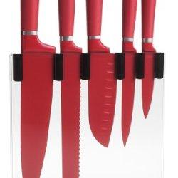 Trudeau 5-Piece Knife Block Set, Red