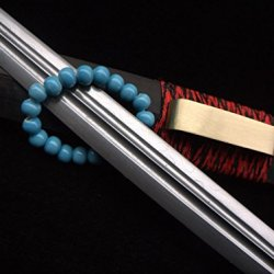 Chinese Sword/Handmade/Folded Steel Blade/Black Wood Scabbard/Brass Knife Fitted