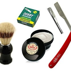 Hair Tattoo Razor Barber Knife Professional With Derby Blades And Omega Shaving Brush And Cream