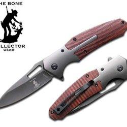 Bone Collector Brown Ribbed Folding Knife Belt Clip