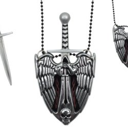 """3""""X2.25"""" Diablo Hell Angel Necklace Knife Silver Color With 4""""Overall Letter Opener"""