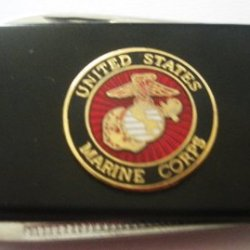 Marine Corps Black Stainless Steel Money Clip With Knife & Nailfile In Body Of Clip