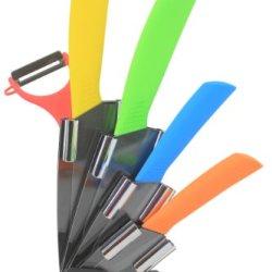 Melange 6-Piece Ceramic Knife Set With Peeler, Multicolor Handle And Black Blade