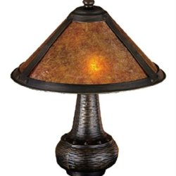 Exclusive By Meyda 14 Inch H Van Erp Amber Mica Accent Lamp Table Lamps