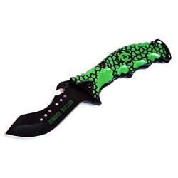 """New 8"""" Green & Black Zombie Killer Spring Assisted Knife With Belt Clip"""