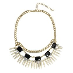 Heirloom Finds Black Crystal Gold Tone Chain Dagger Fringe Collar Necklace
