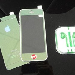 Super Space Premium Metallic Bright Plated Real Tempered Front And Back Screen Protectors Colorful Transformed Kit, 9H Strong, 0.3 Mm Thin, New Design For Apple® Iphone® 5 / Iphone® 5S, Verizon, At&T, Sprint, T-Mobile (Green - Front & Back (Full Green))