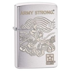 Zippo Pocket Lighter Engraved Army Strong Windproof Lighter, Brushed Chrome