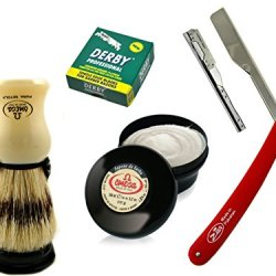 Razor For Thick Beard Design Barber Knife Shaving Brush Holder And Shaving Cream + 100 Derby Blades Ready To Shave