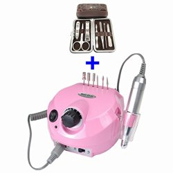 Hot Sale!!! Belle Pro Improved Overheat Vibration 30000 Rpm Electric Nail Drill Kit + Portable 7 In 1 Pcs Crocodile Nail Care Personal Manicure & Pedicure Travel & Grooming Kit