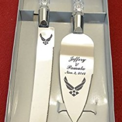 Military Air Force Engraved Wedding Cake Knife / Server Set Names And Date Free !