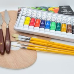 """Quality Phoenix@ Artist'S Oil Color Paint Set With 9.8"""" X 11.8"""" Oval Palette, 5 Palette Knives And Painting Brushes #10"""