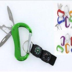 Vas 3N1 Versabiner 3 Blade Aluminum Snap Link Utility Carabiner W Compass, Thermometer Black Strap & Key Ring Strap- Ships Assorted Random Colors