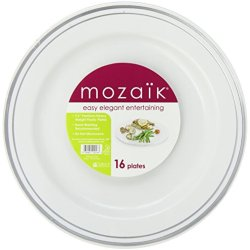 Mozaik Round Decorated Plates, Silver (7.5-Inch), 16-Count Plates (Pack Of 8)