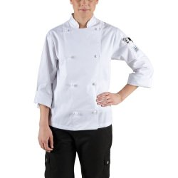 Chef Revival Lj028 Poly Cotton Knife And Steel Ladies Long Sleeve Jacket With Cloth Knot Buttons, 5X-Large, White