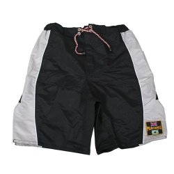 Playwell Mma Black/Grey Block Pattern Design Microfibre Fight Shorts - Medium