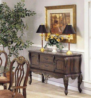 Image of Server Sideboard with Marble Top Walnut Finish (VF_AM7643)