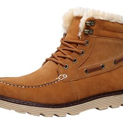Milanao Men Winter Warm Cotton Frosted Short Tube Snow Boots(7.5 D(M)Us,Chestnut)