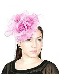 NYfashion101(TM) Cocktail Fashion Sinamay Fascinator Hat Flower Design & Net S102651 (Light Pink)