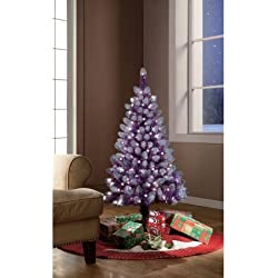 Artificial Christmas Tree Pre-Lit 4' Purple Tinsel Clear Lights