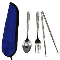 Traveling Portable Stainless Steel Tableware(1 Scoop,1 Pair Chopsticks,1 Fork)