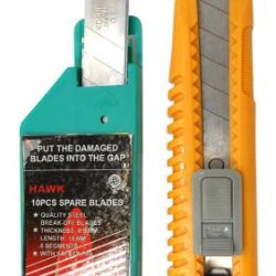 Heavy Duty Utility Cutter / Break Off Blade Knife With 10 Extra Blades : ( Pack Of 2 Packages )