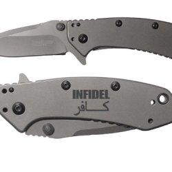Infidel Sanscript Engraved Kershaw Cryo 1555Ti Folding Speedsafe Pocket Knife By Ndz Performance